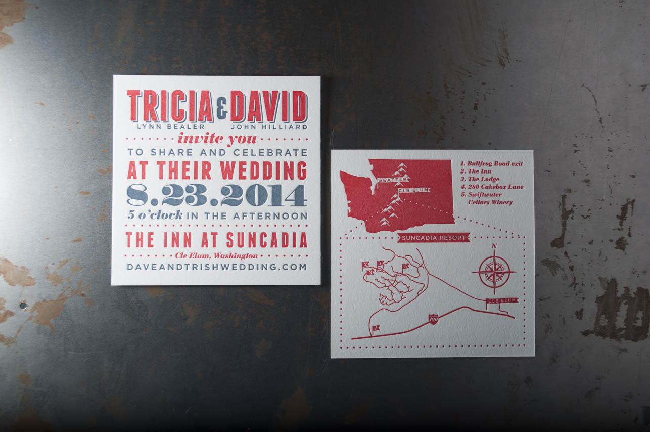 Red white and blue letterpress wedding invitation