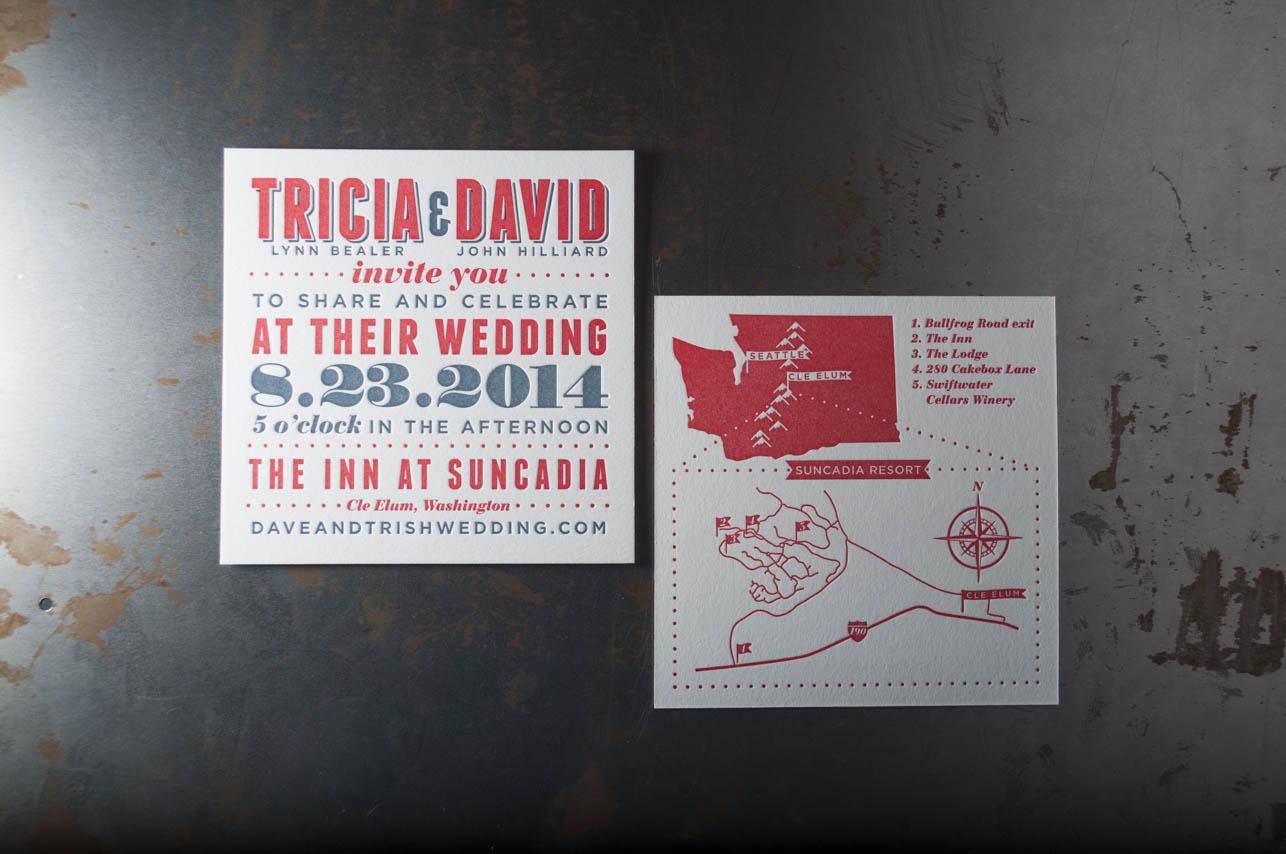 suncadia wedding invitation design letterpress designers seattle