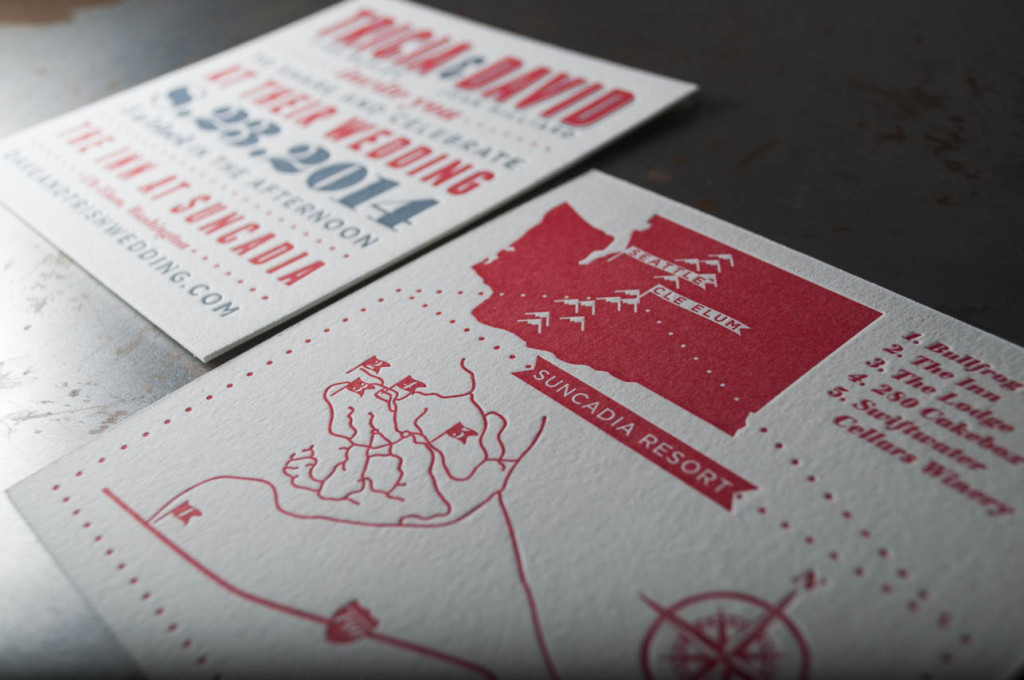suncadia wedding invitations design letterpress printing seattle
