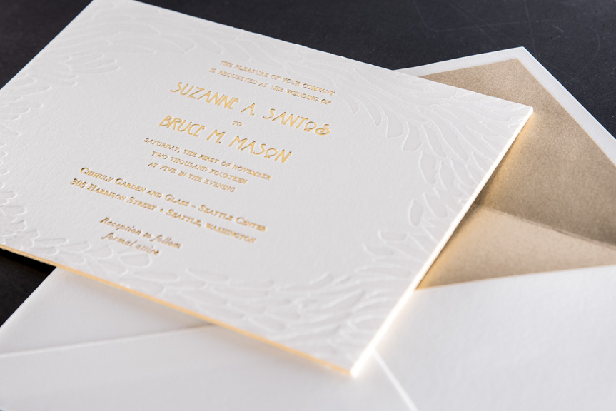 wedding invite split ink fade letterpress edge painting 220 lb gold foil printing envelope liner lettra