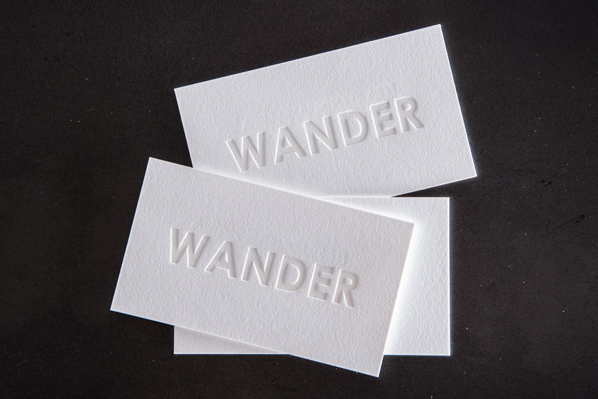white letterpress business card
