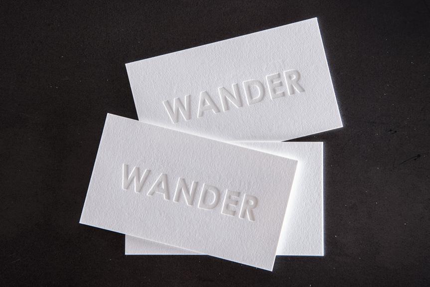 white letterpress business card