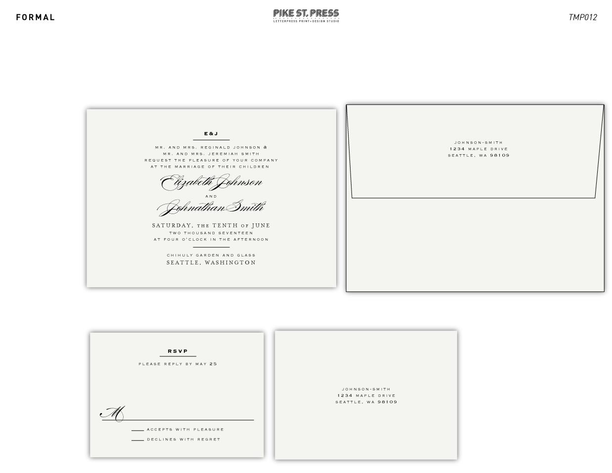 Formal TMP012 – Wedding Invitation – Pike Street Press