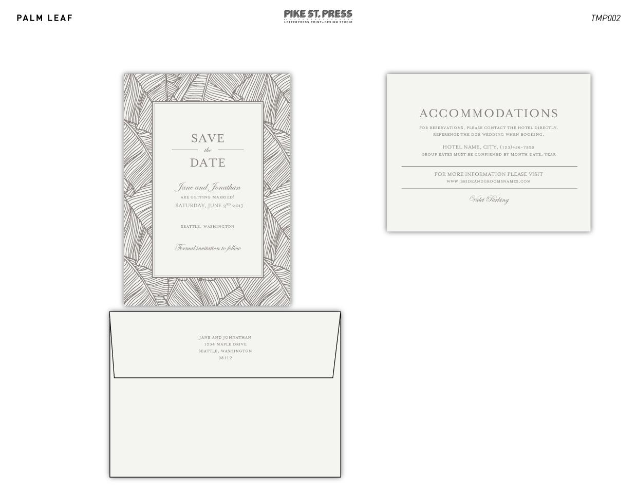 Palm Leaf TMP002 – Wedding Invitation – Pike Street Press