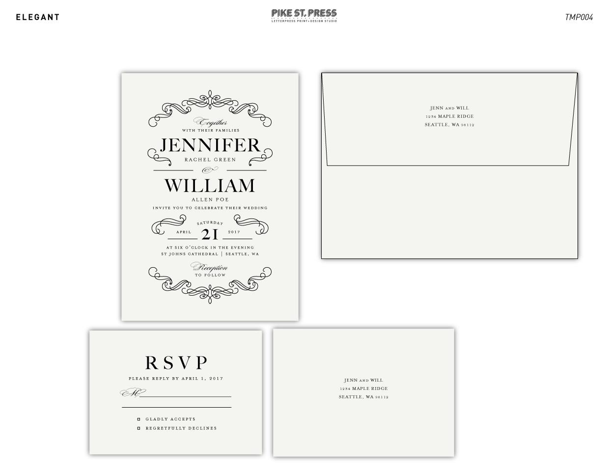 Letterpress Printing Wedding Invitations: TMP004 Wedding Invitation