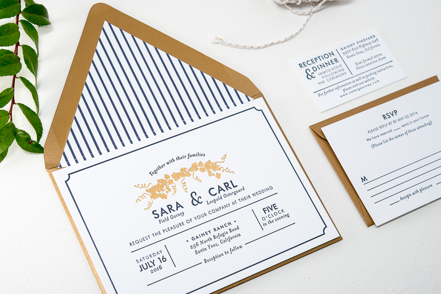 Project Letterpress Wedding Invitations Printed On 110lb Fluorescent White Paper Gold Stardream Envelopes With Liner