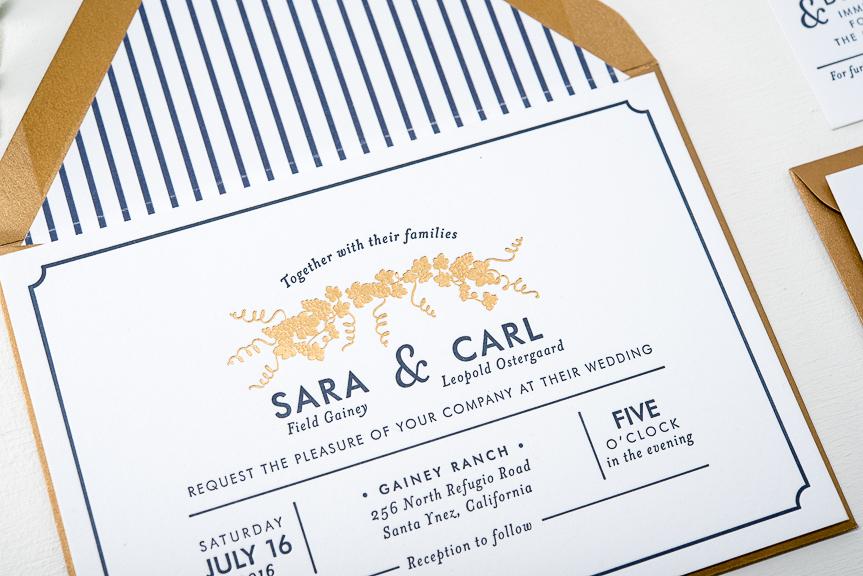 navy and gold foil letterpress wedding invitation