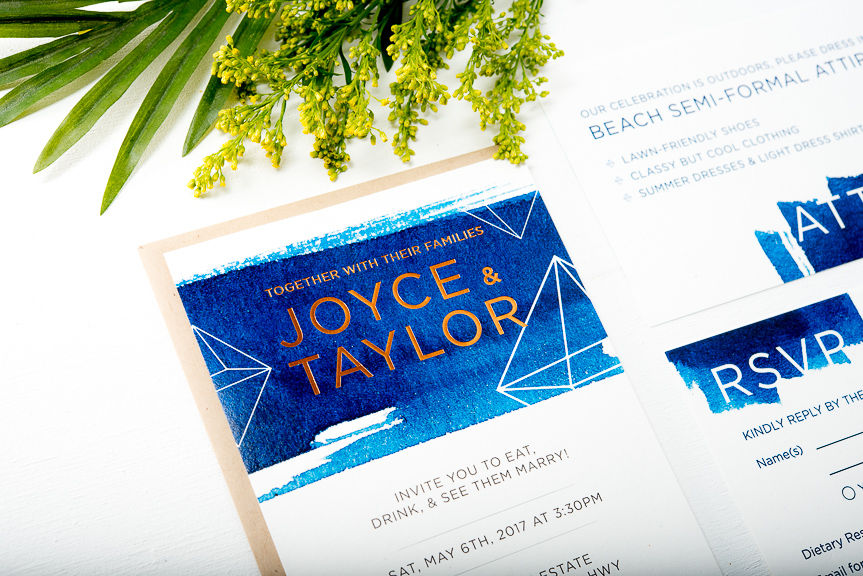 Watercolor and gold foil letterpress wedding invitation