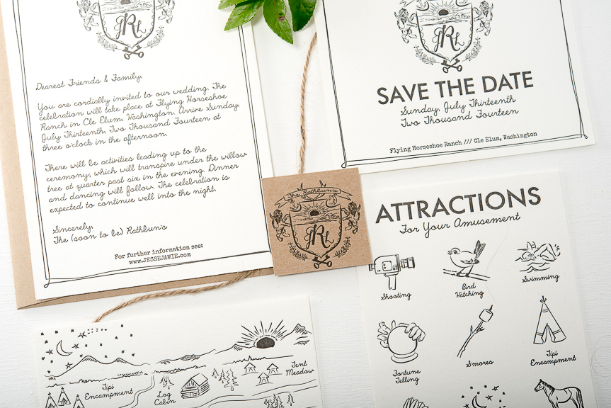 sketched letterpress wedding invitation
