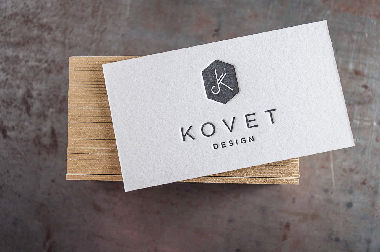 letterpress business cards gold edge