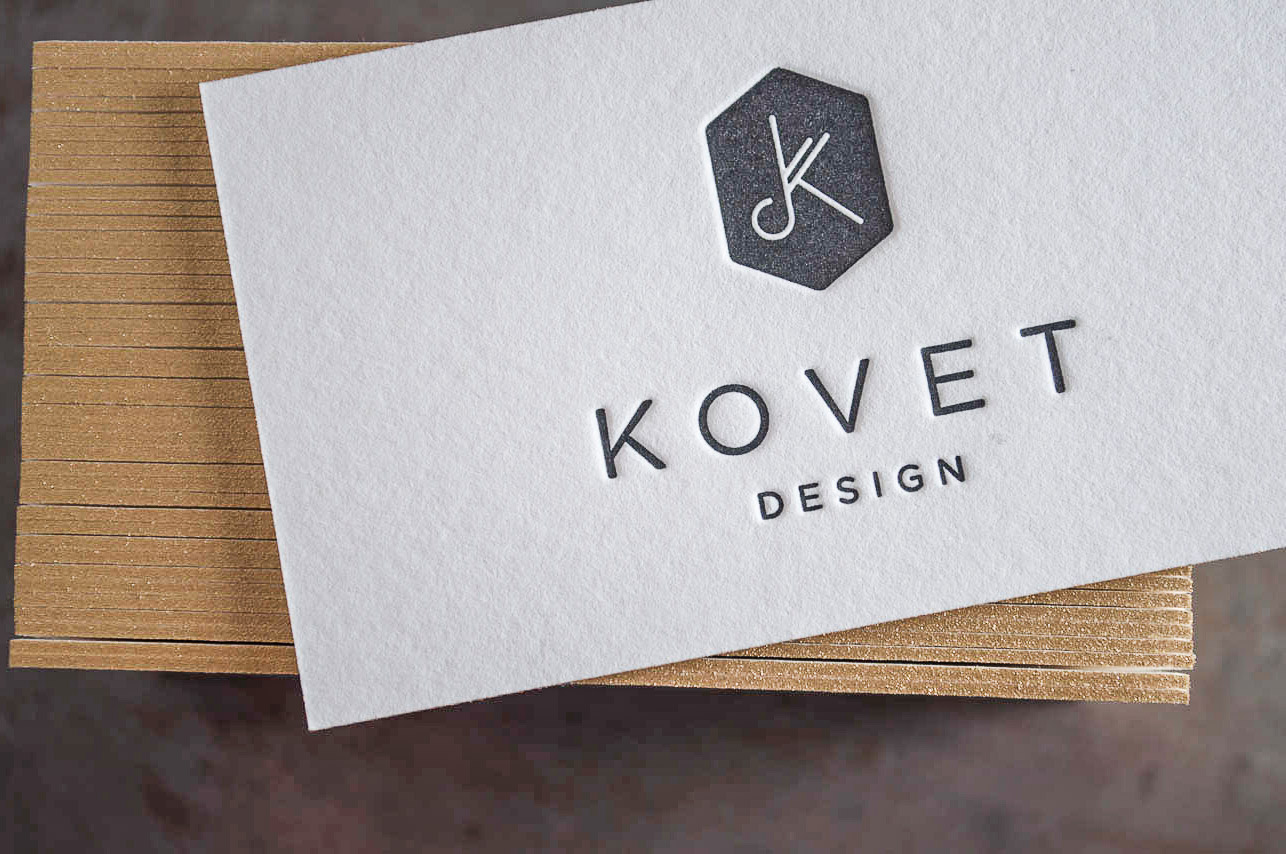 letterpress business cards gold edging