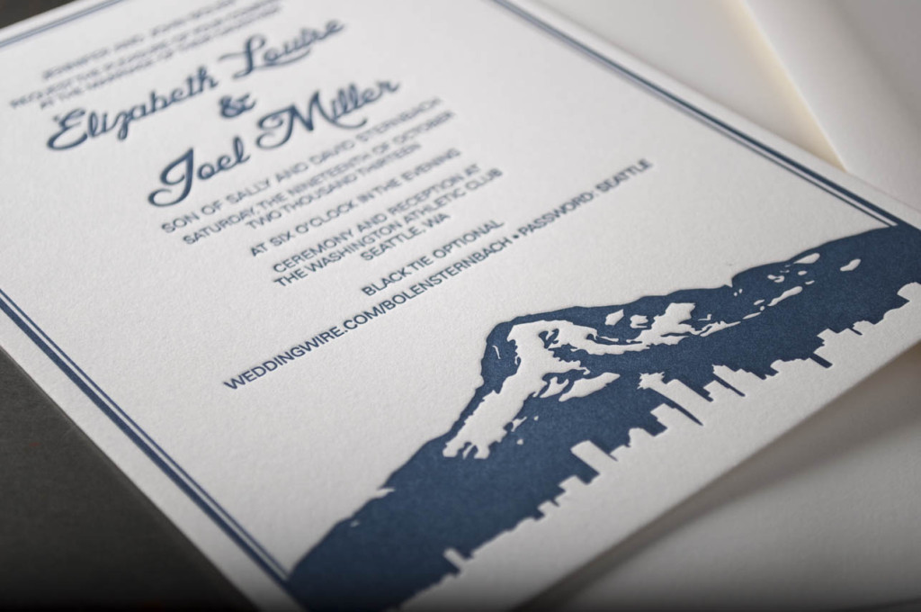 Seattle Skyline Silhouette Wedding Invitation Pike Street Press