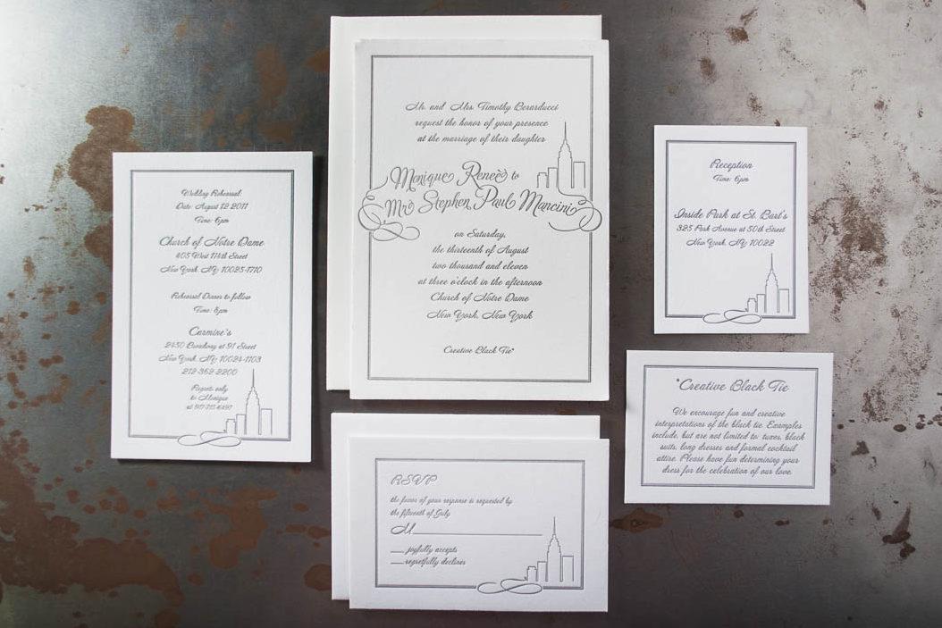 Project New York Letterpress Wedding Invitations Printed On 110lb Cranes Lettra Pearl White Client Design