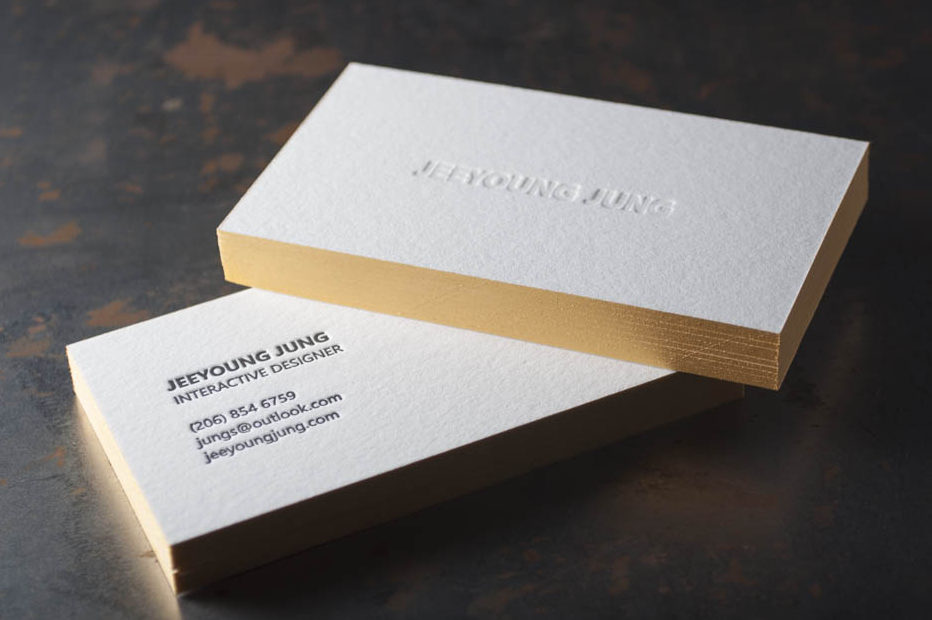 White and gold letterpress business card