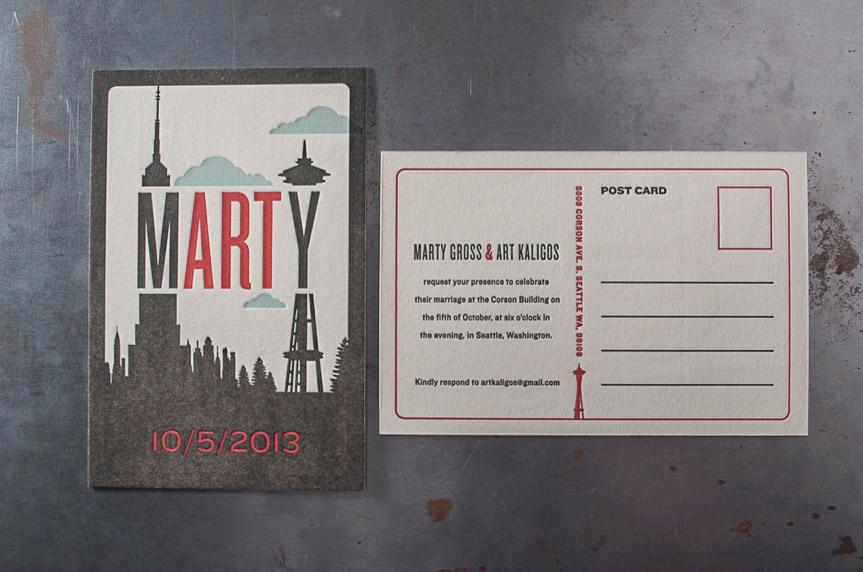 Seattle skyline letterpress postcard