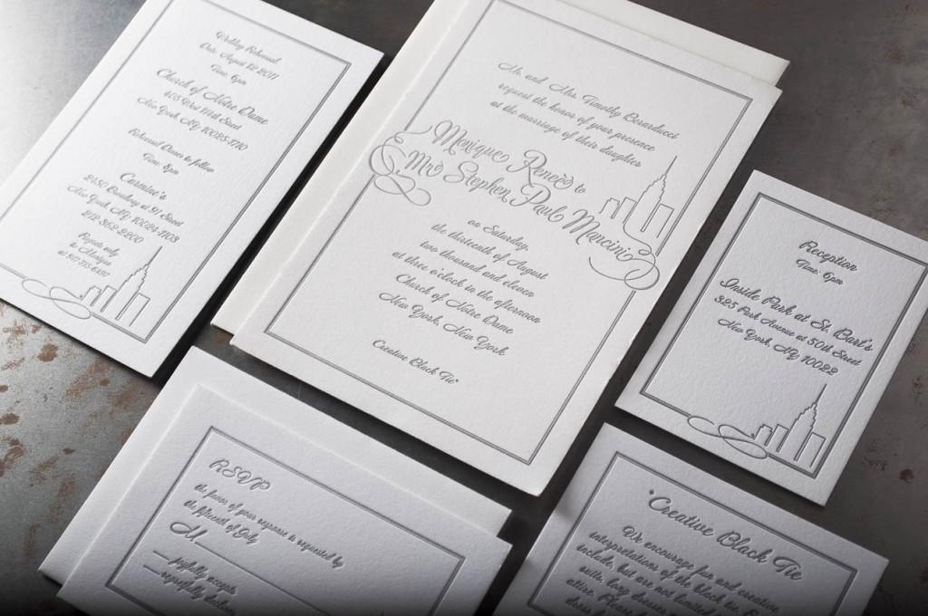 New York letterpress wedding invitation