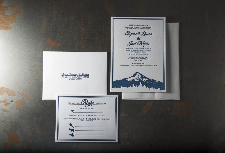 Seattle skyline letterpress wedding invitation