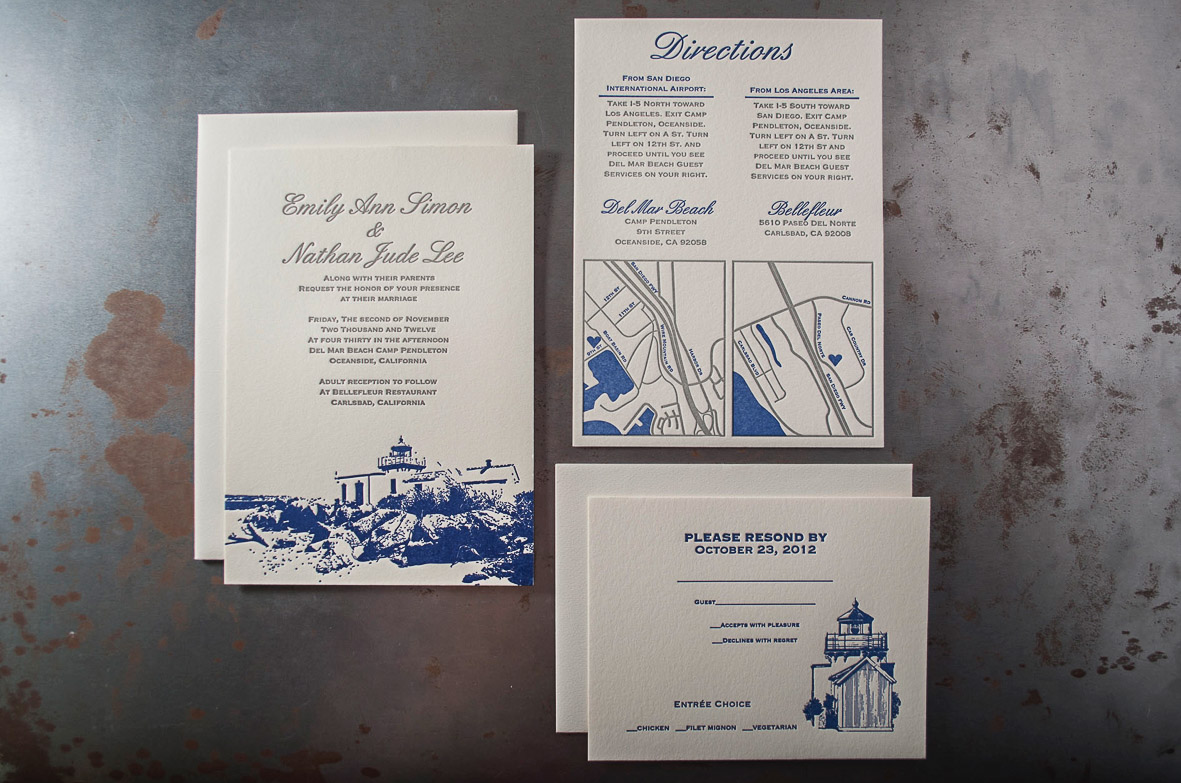 typography letterpress wedding invitation