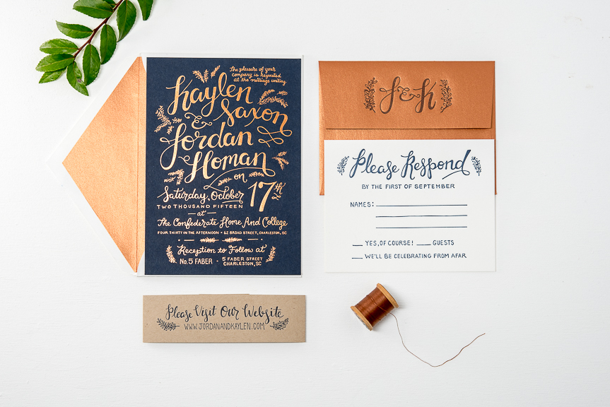 gold foil letterpress wedding invitation