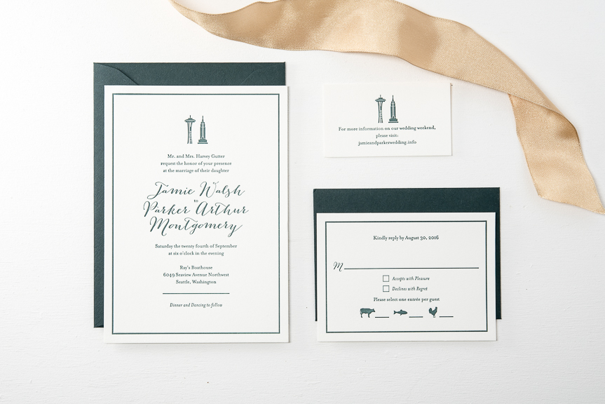 Space needle letterpress wedding invitation