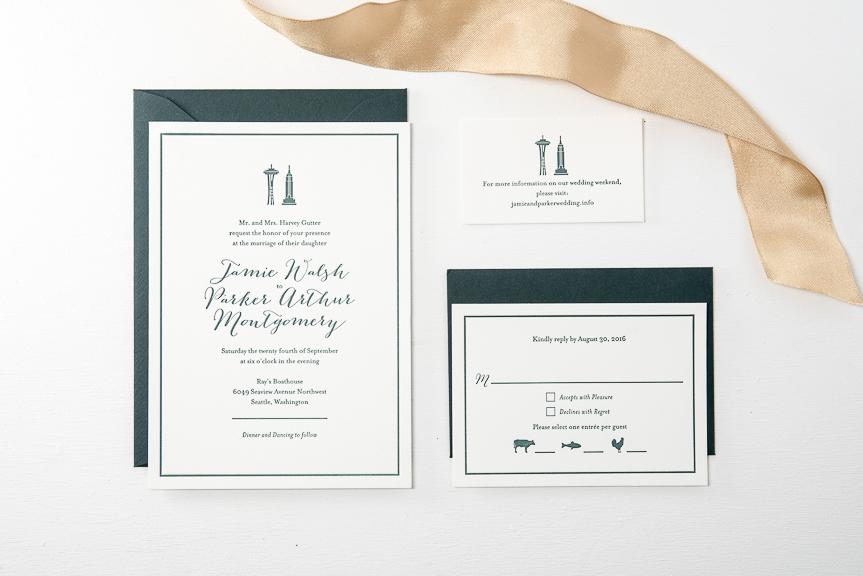 Space needle letterpress wedding invitation
