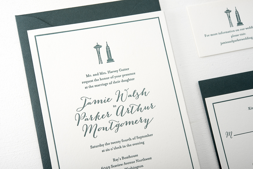 New York to Seattle wedding invitations Pike Street Press