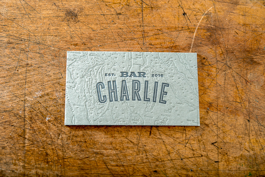 Map letterpress business card
