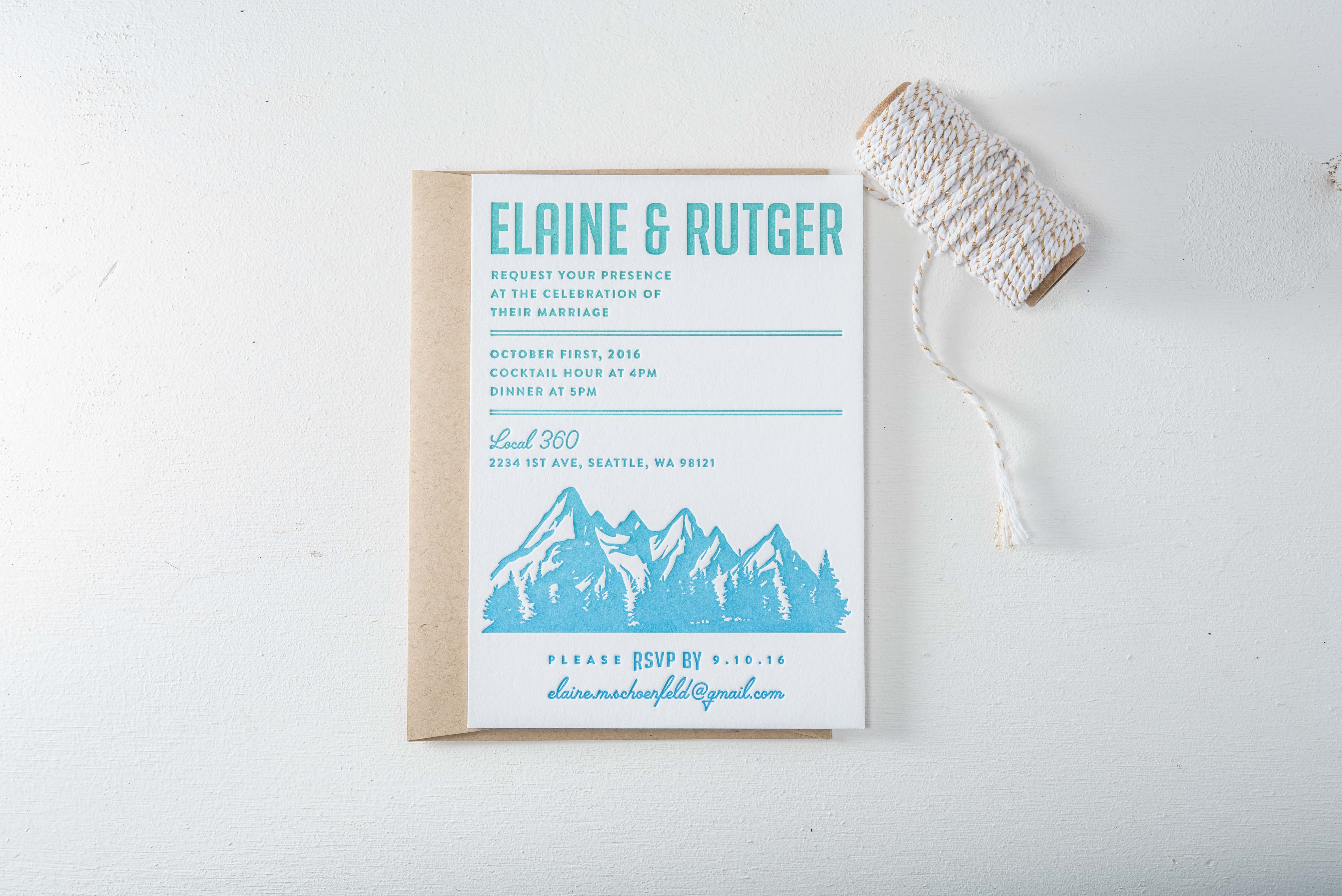 split ink wedding invitation