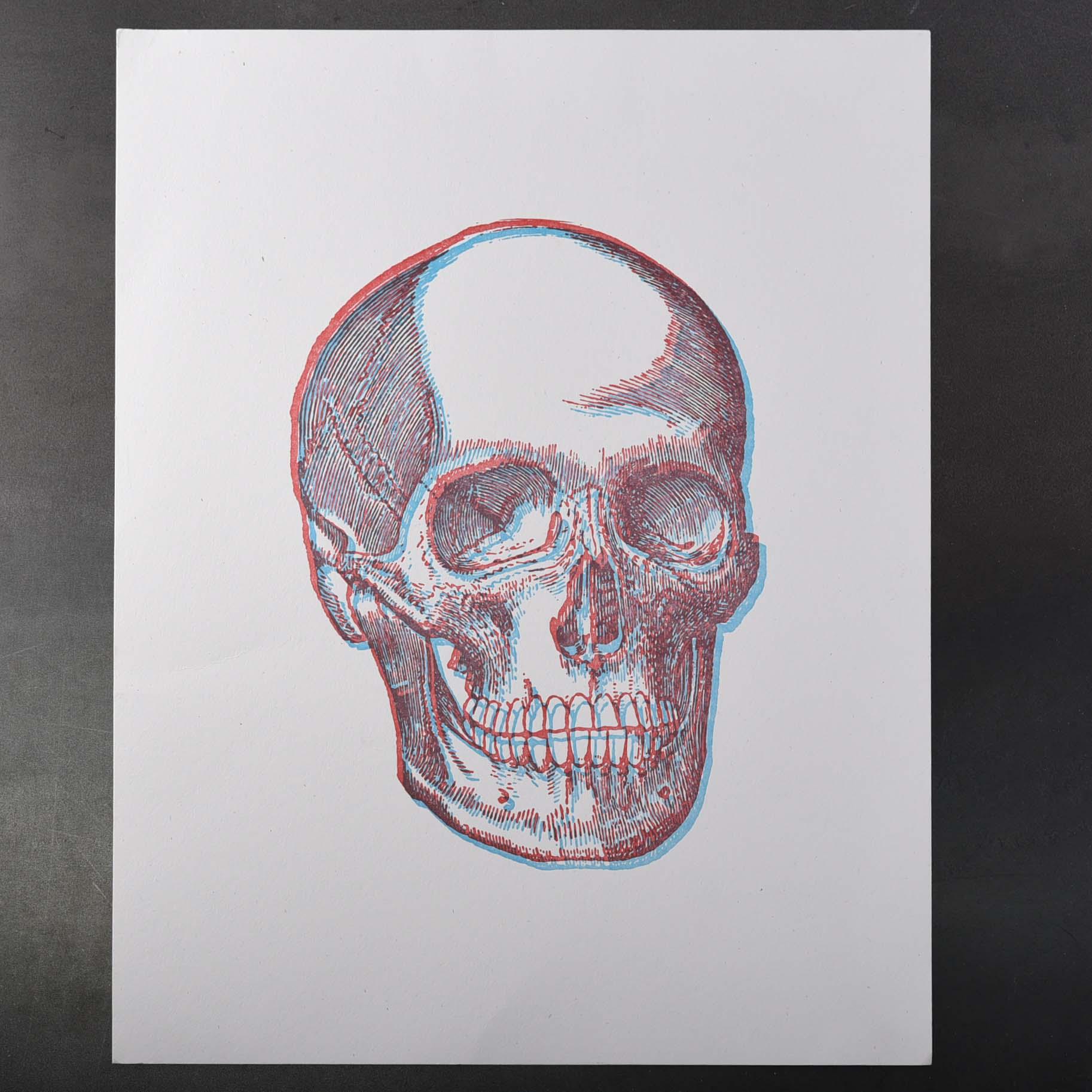 skull overprint wide shot blue and red
