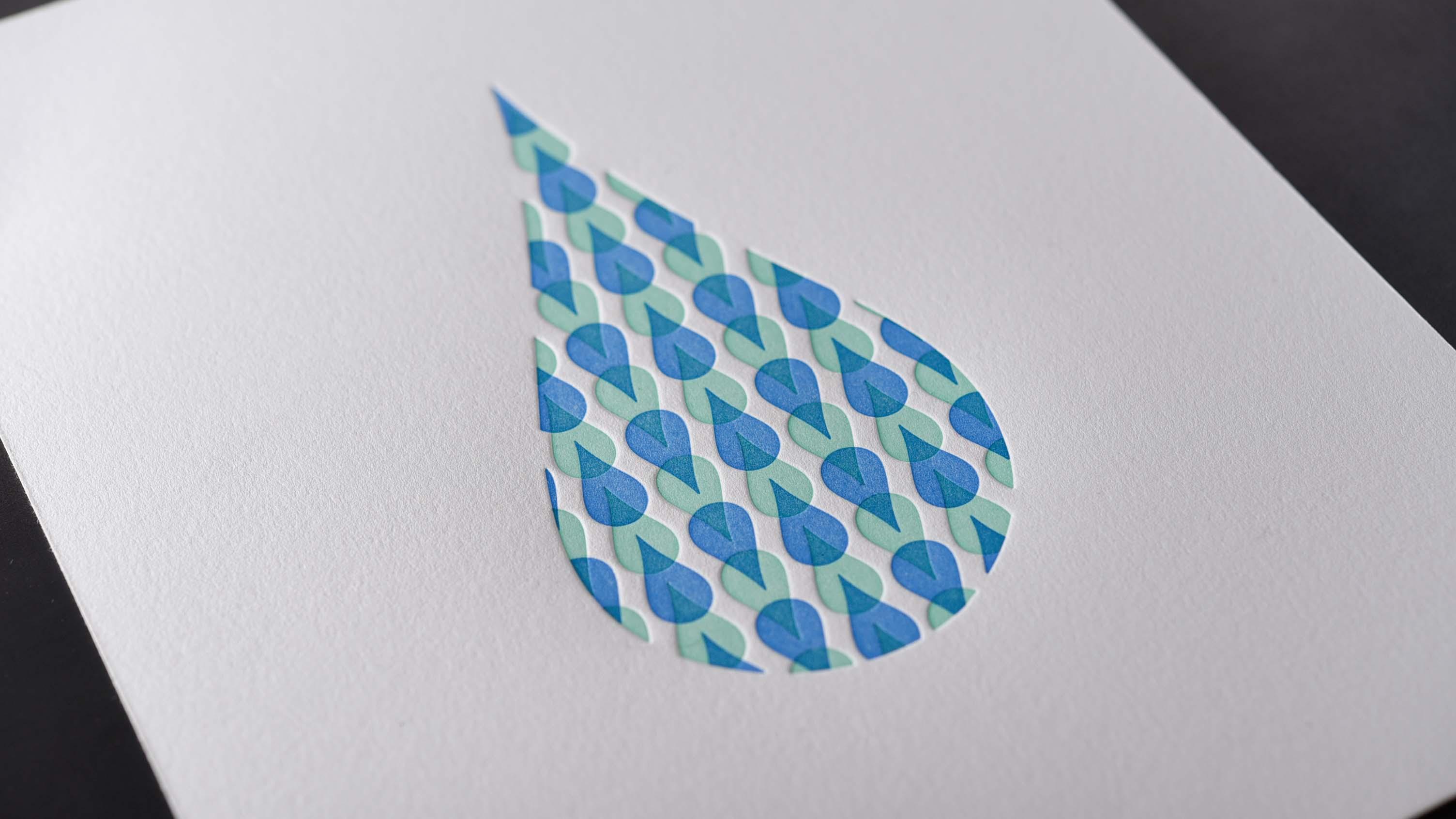 raindrop overprint small print blue and green