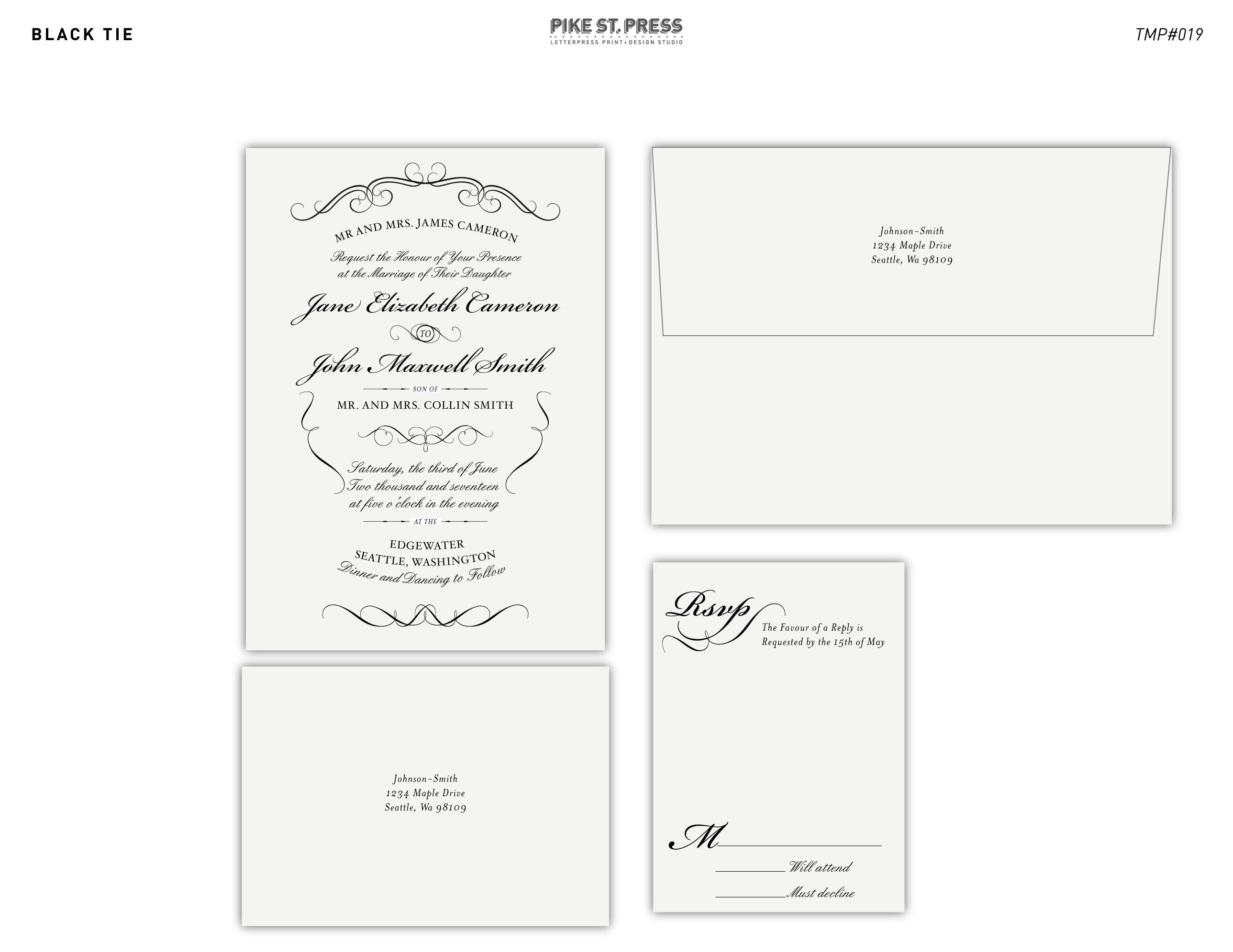 Black Tie TMP019 U2013 Wedding Invitation