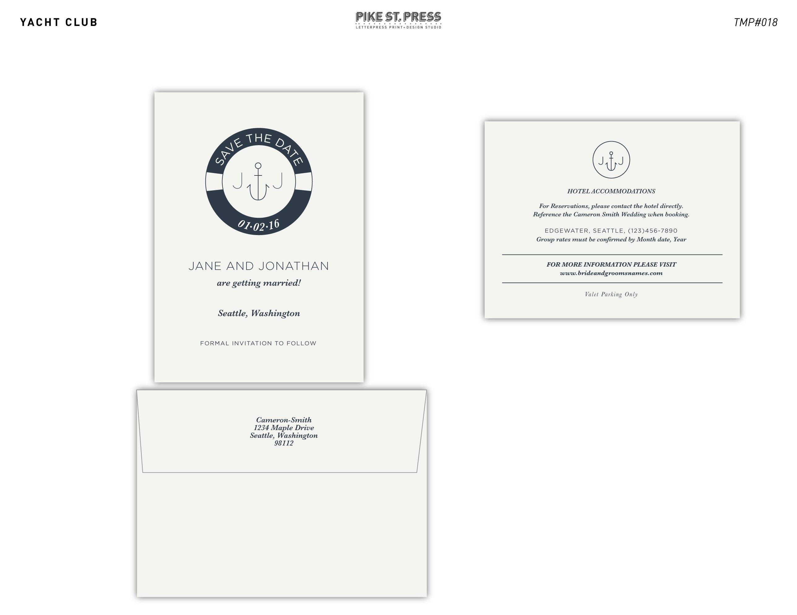 Yacht Club TMP018 – Wedding Invitation – Pike Street Press