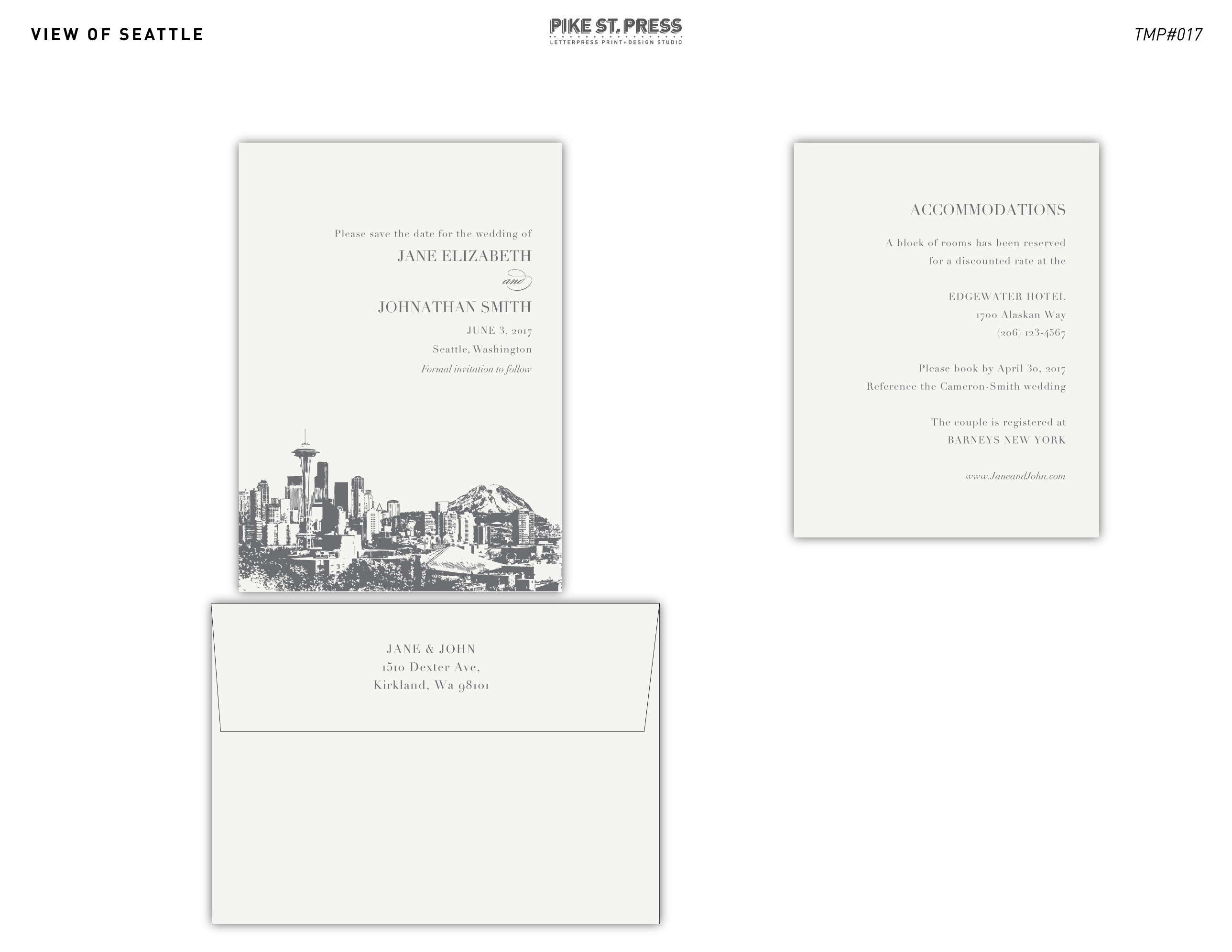 View of Seattle TMP017 – Wedding Invitation – Pike Street Press