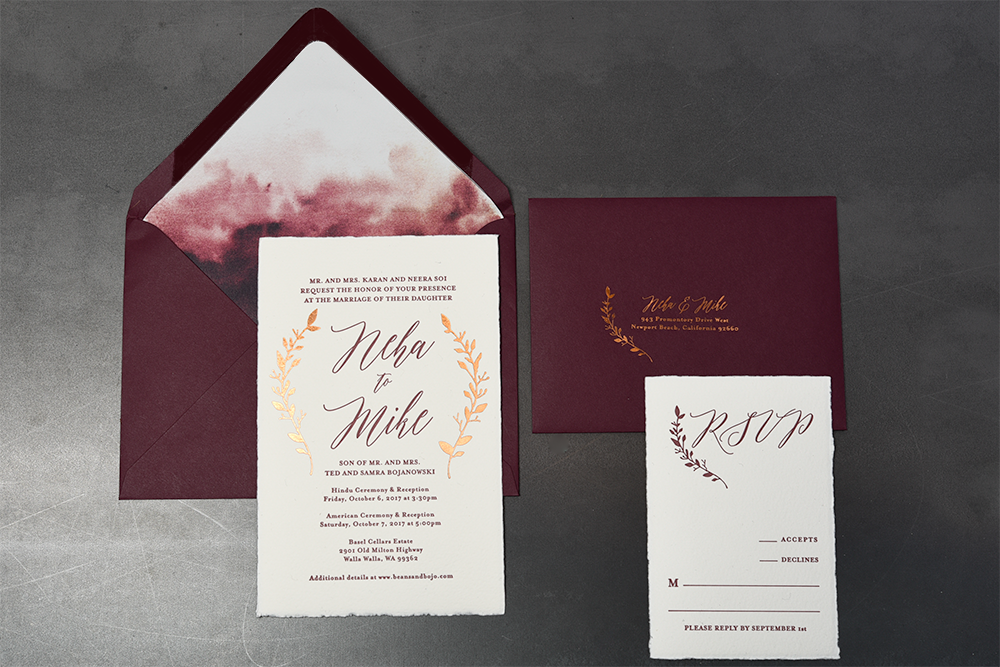 watercolor wedding invitations foil printing seattle