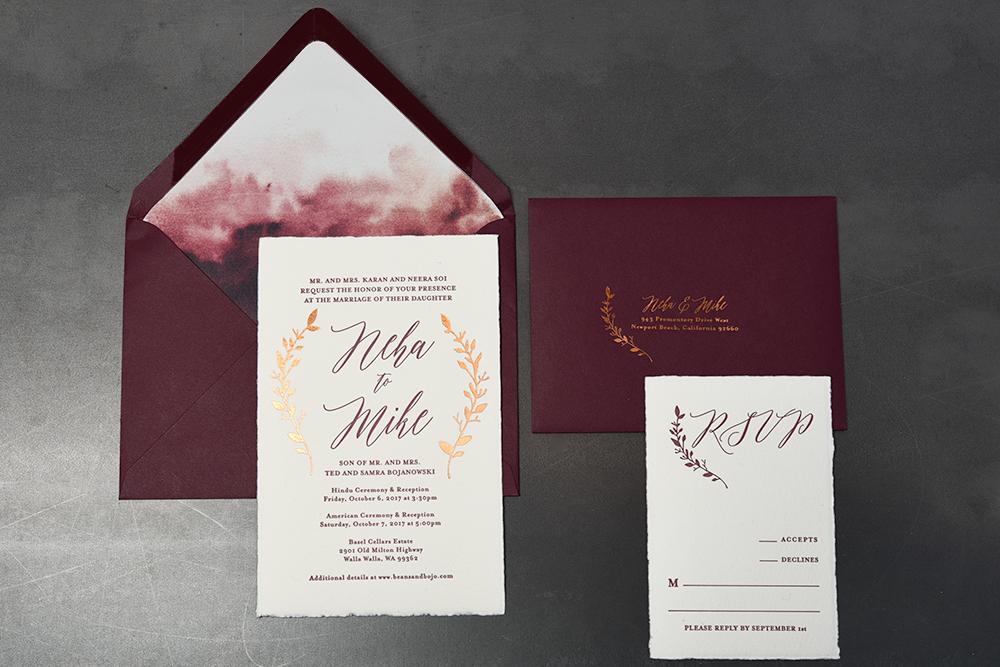 watercolor wedding invitations foil printing seattle
