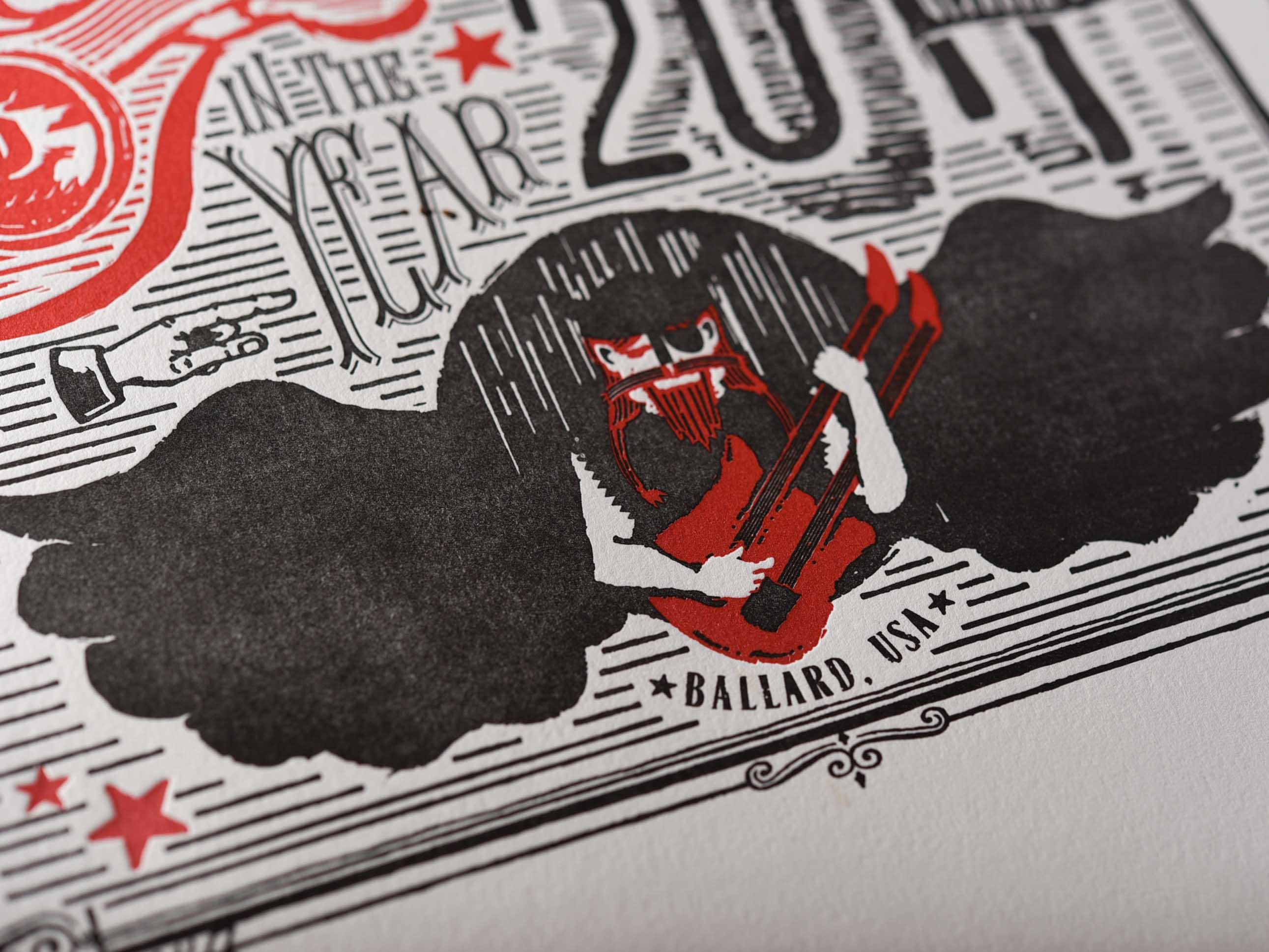 local music festival rock angel letterpress design