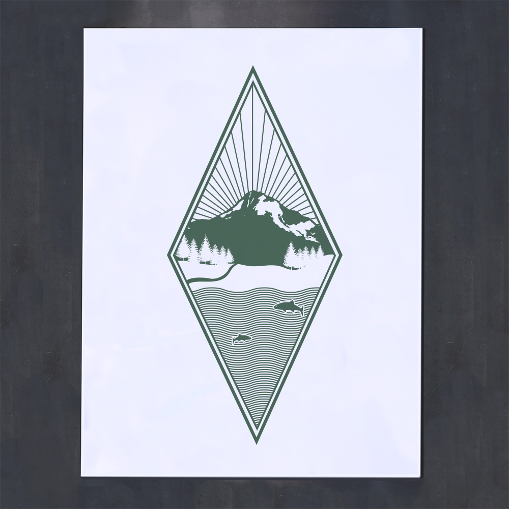 green geometric diamond screenprint poster