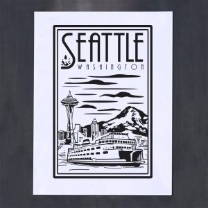 seattle black and white linocut screenprint