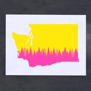 neon yellow and pink Washington state silhouette neon