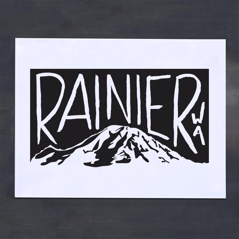 rainier washington screenprint poster