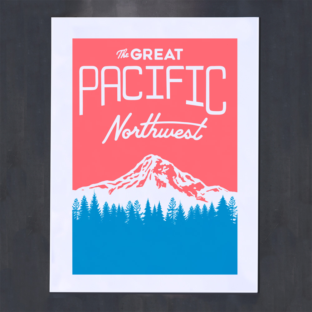red and blue screenprint great pacific northwest mountain trees