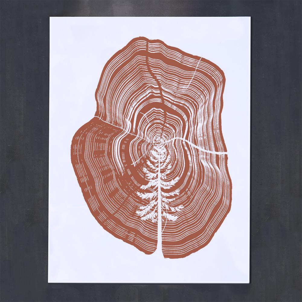 brown rings tree screenprint poster design