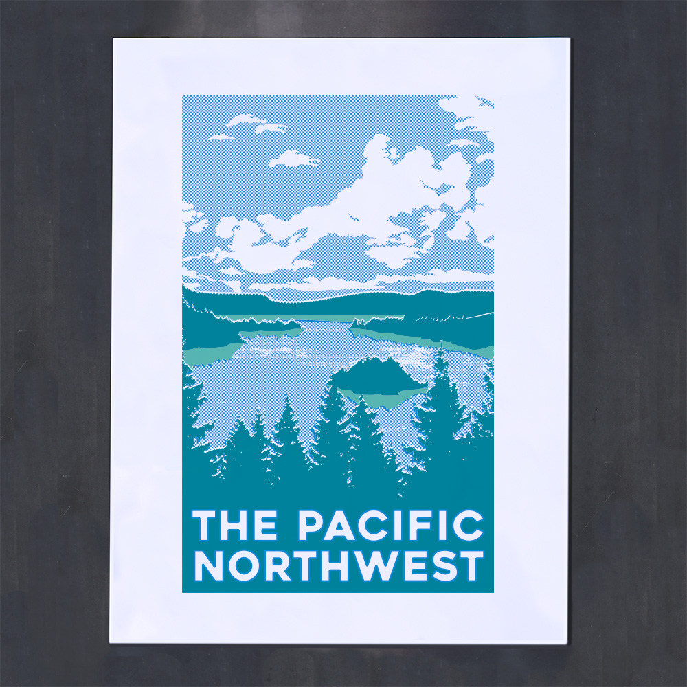 halftone waterscape blue poster pacific northwest