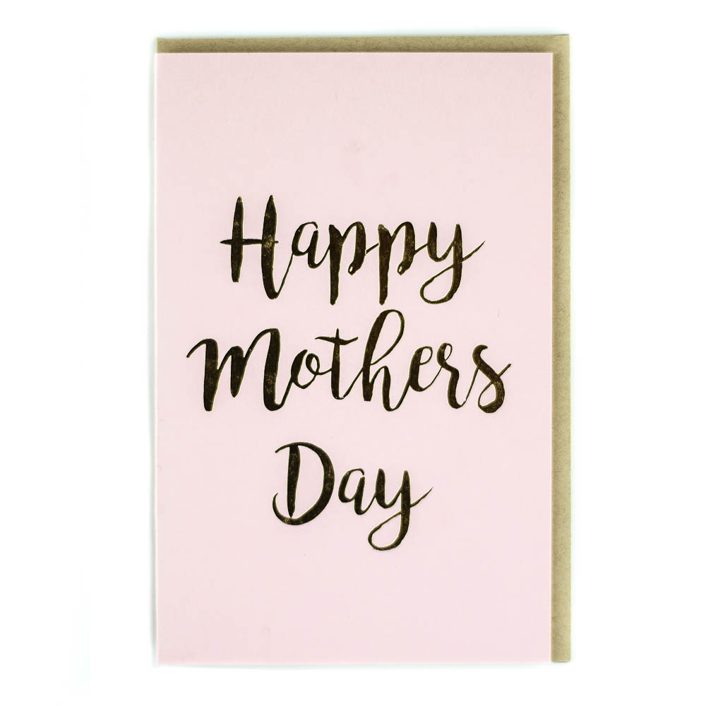 Happy Mothers Day Gold Foil on Pink